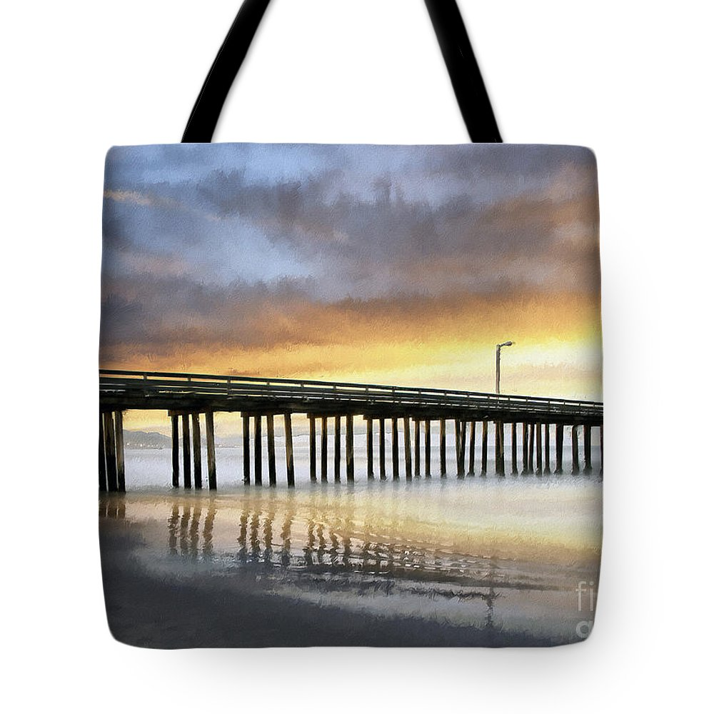 Cayucos Tote Bag featuring the photograph Cayucos Pier Reflected Impasto by Sharon Foster