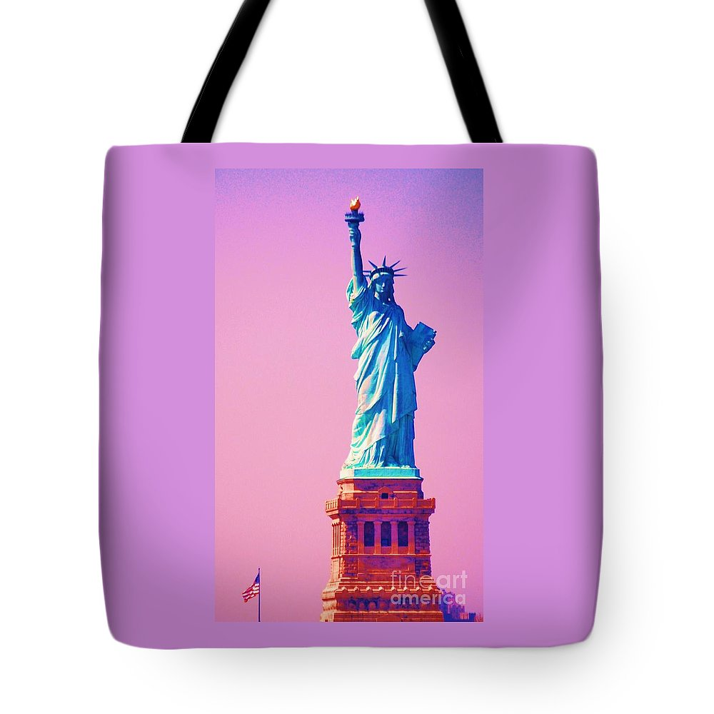 Statue Of Liberty Art New York Iconic Image Surreal Image Travel Tinted For Surrealistic Purposes Americana Gift From France Vertical Lady Liberty Globally Recognized Statue Sculpture Patriotism Metal Frame Highly Recommended Canvas Print Poster Print Available On Greeting Cards 4th Of July Party Invitation Card T Shirts Tote Bags Shower Curtains Mugs Beach Towels And Phone Cases Tote Bag featuring the photograph Celebrating Lady Liberty # 3 by Marcus Dagan