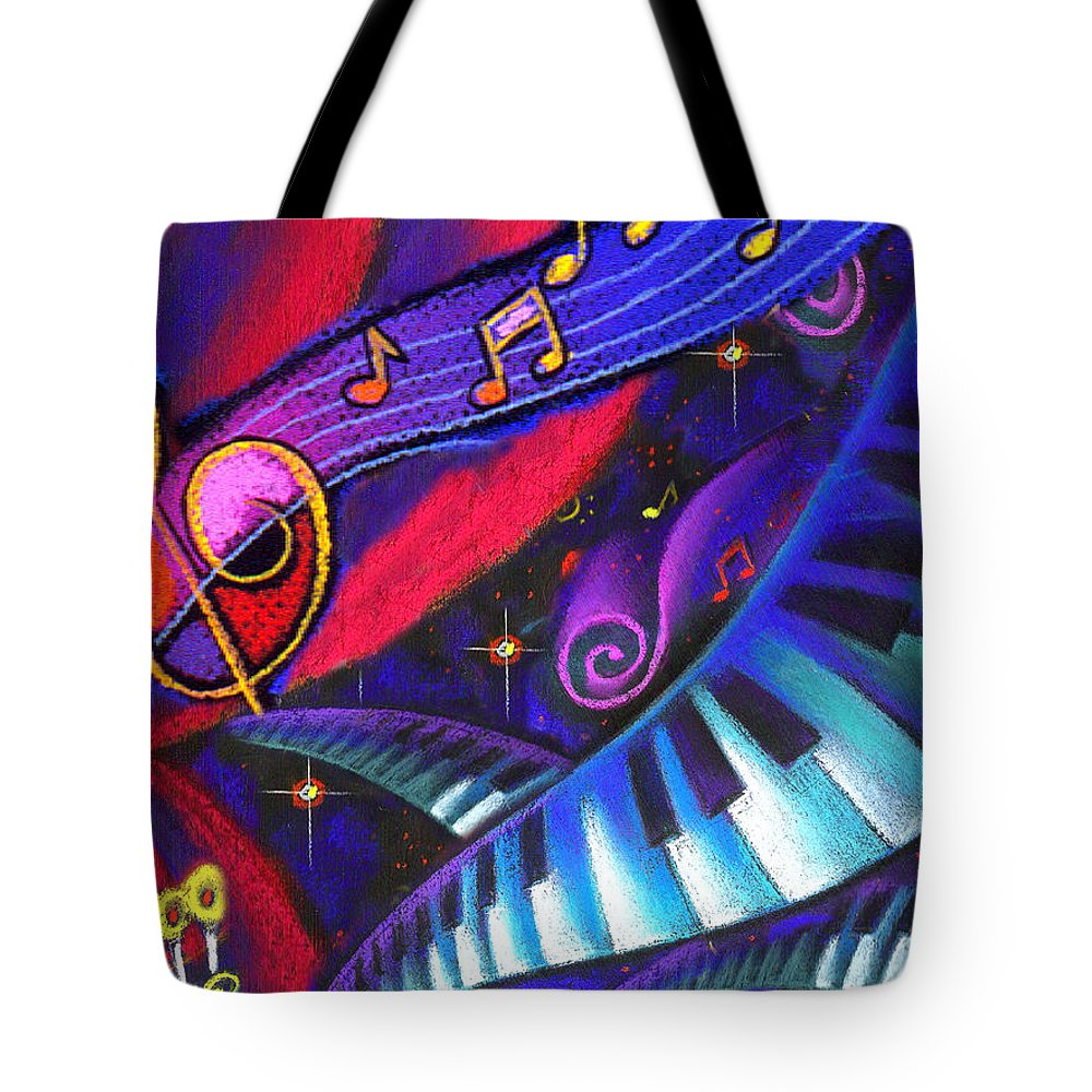 Cabaret Candelabra Candlestick Celebration Clubbing Color Colour Coordinating Coordination Creativity Curving Disco Dramatic Eagerness Energy Entertainment Enthusiasm Excitement Exciting Festivity Flexibility Graphic Design Harmony Hobby Illustration Keyboard Leisure Time Melody Music Musical Note Nightclub Nightlife Tote Bag featuring the painting Celebration by Leon Zernitsky