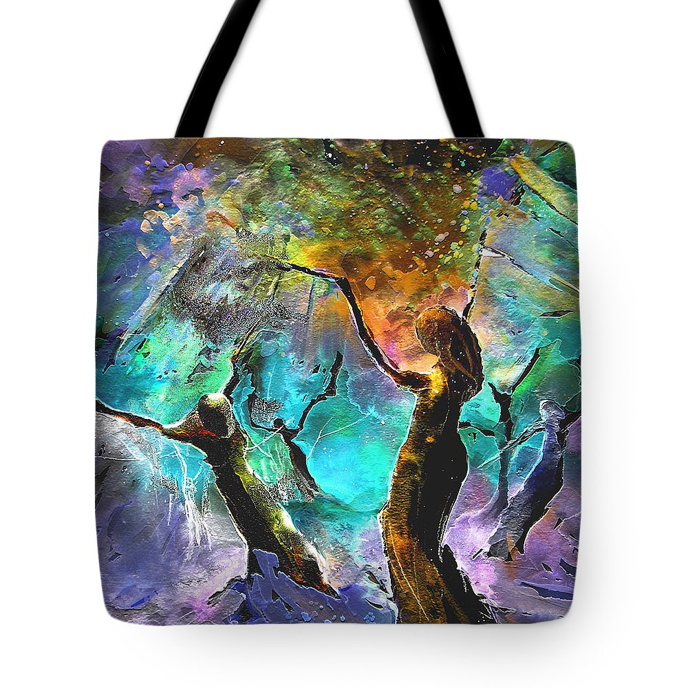 Miki Tote Bag featuring the painting Celebration Of Life by Miki De Goodaboom