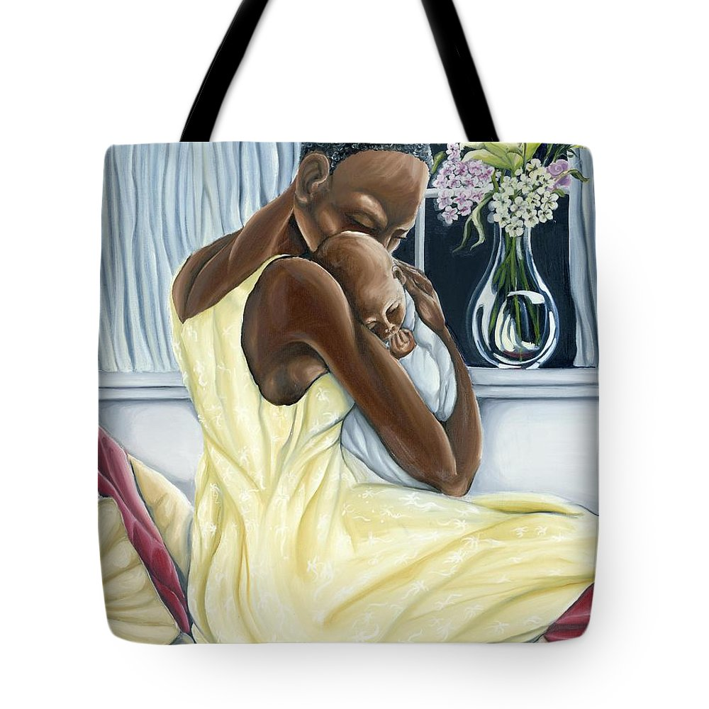 Mother Tote Bag featuring the painting Instinctual by Rhonda Falls