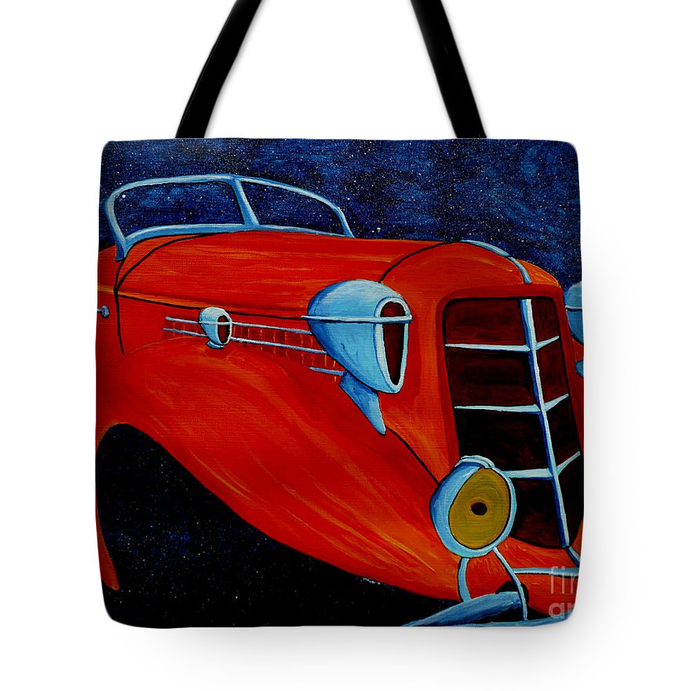 Auburn Tote Bag featuring the painting Cruising The Stars by Anthony Dunphy