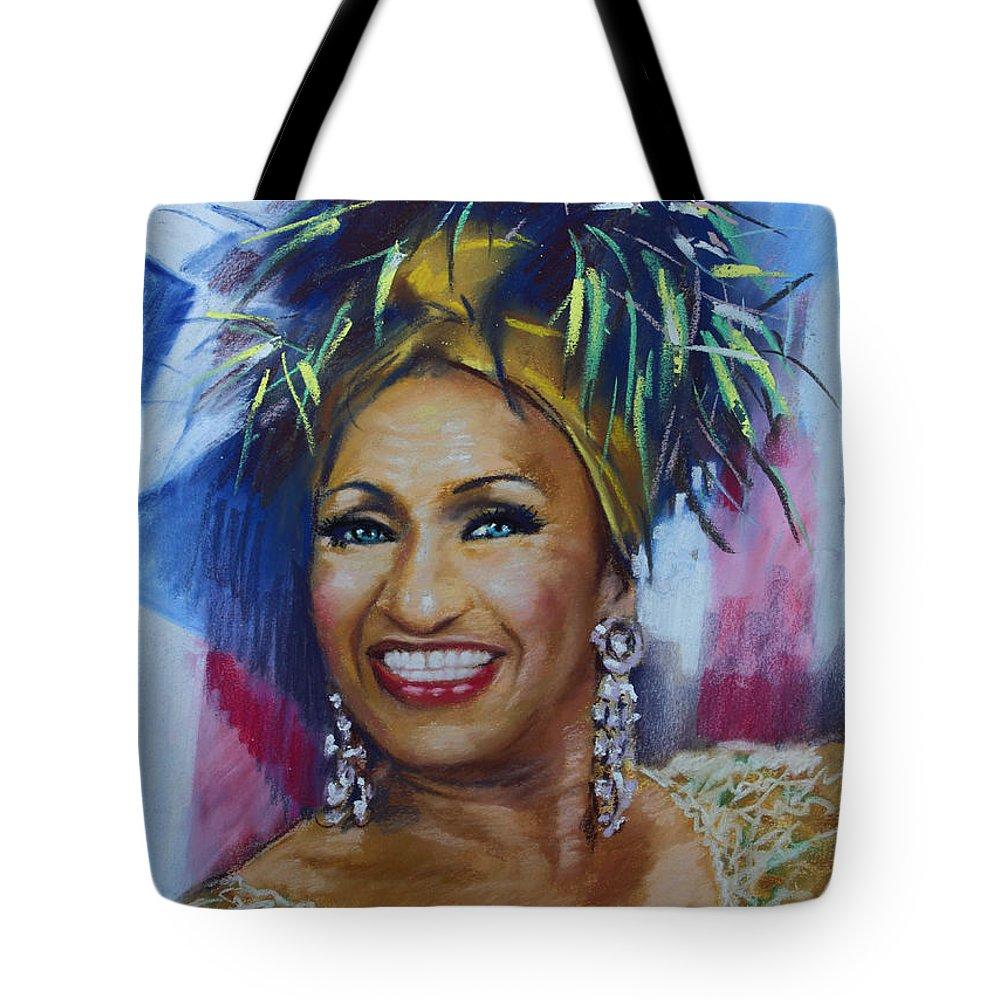 Cuban American Salsa Tote Bag featuring the drawing Celia Cruz by Viola El