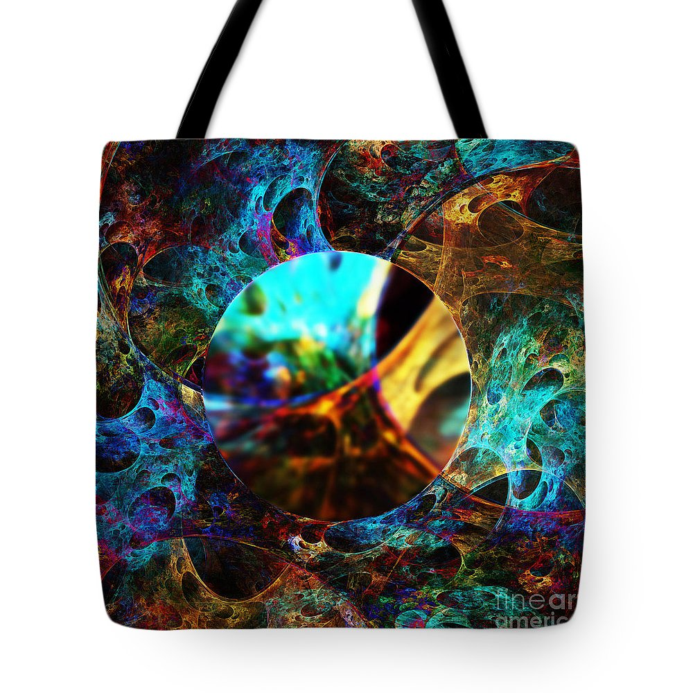 Cells Tote Bag featuring the digital art Cell Research by Klara Acel