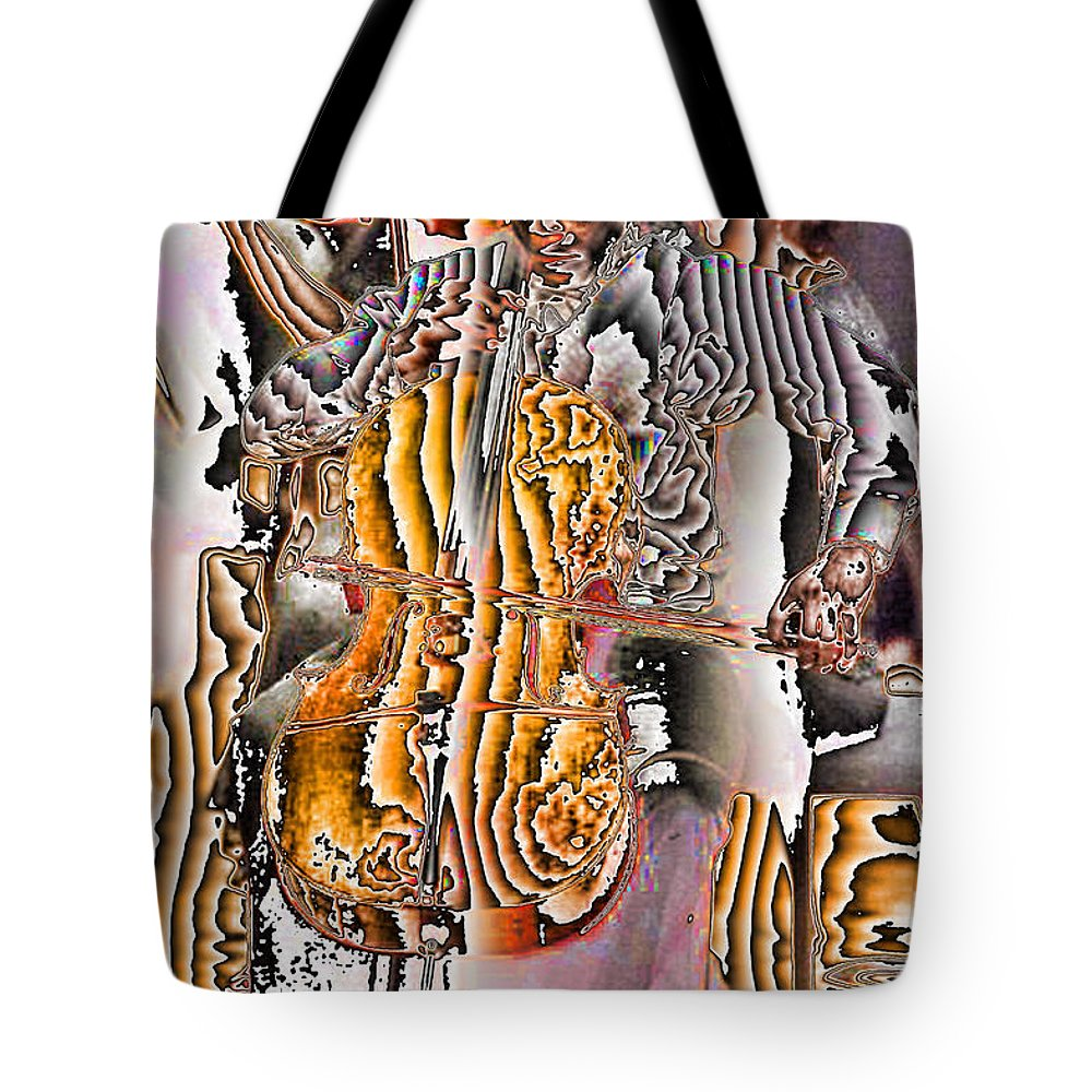 Abstract Tote Bag featuring the digital art Cello Man by Jack Bowman