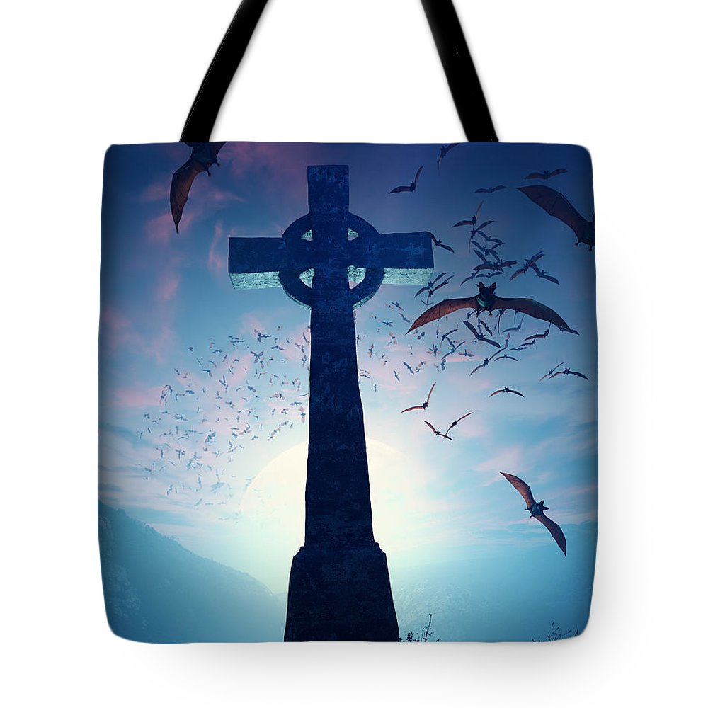 Cross Tote Bag featuring the photograph Celtic Cross With Swarm Of Bats by Johan Swanepoel