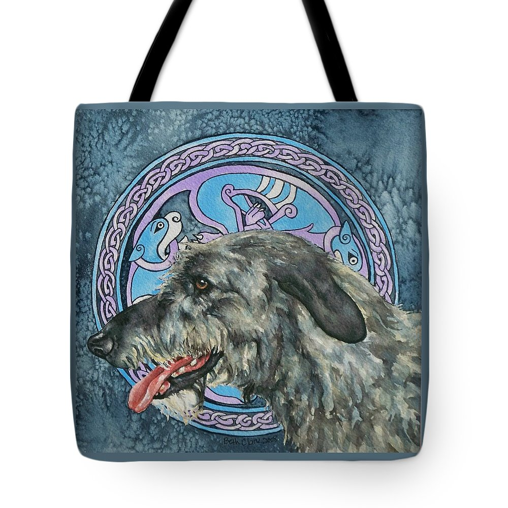 Celtic Tote Bag featuring the painting Celtic Hound by Beth Clark-McDonal