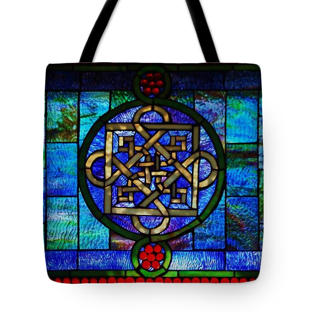 Stained Glass Photography Celtic Images Photography Celtic Symbols Photography Blue Glass Photography Metal Frame Suggested Greeting Card For An Irish Friend Baltimore Mc Governs Pub Canvas Print Duvet Cover Phone Case Art Tote Bag Art Tote Bag featuring the photograph Celtic Stained Glass Horizontal by Marcus Dagan