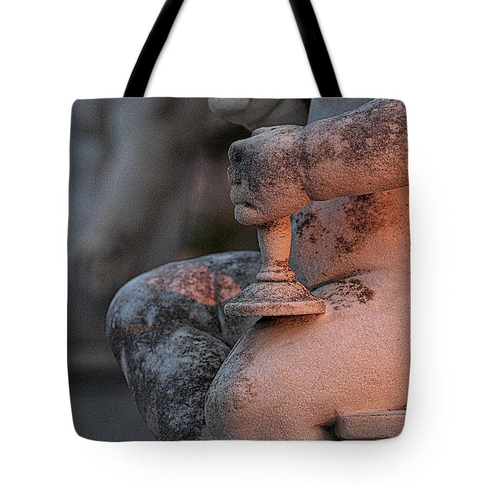 Hvar Tote Bag featuring the photograph Cemetery Cherub - Hvar Croatia by Stuart Litoff