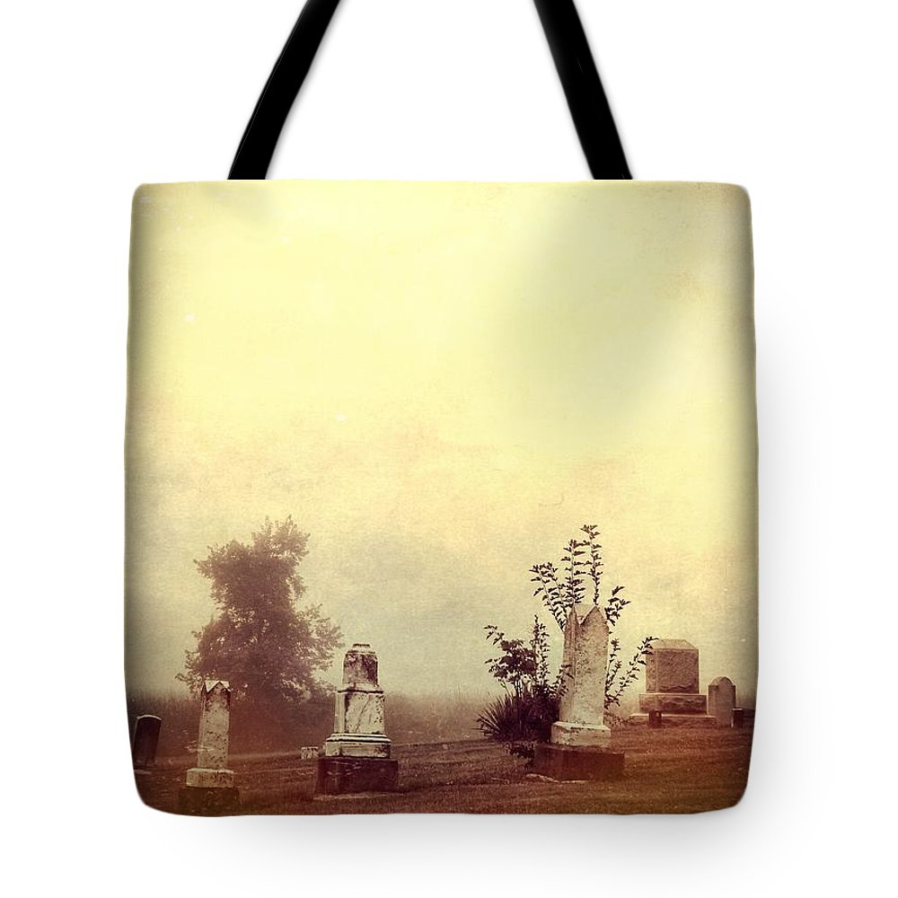 Cemetery In The Fog Tote Bag featuring the photograph Cemetery In The Fog by Dan Sproul