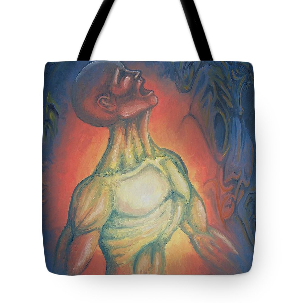 Tmad Tote Bag featuring the painting Center Flow by Michael TMAD Finney