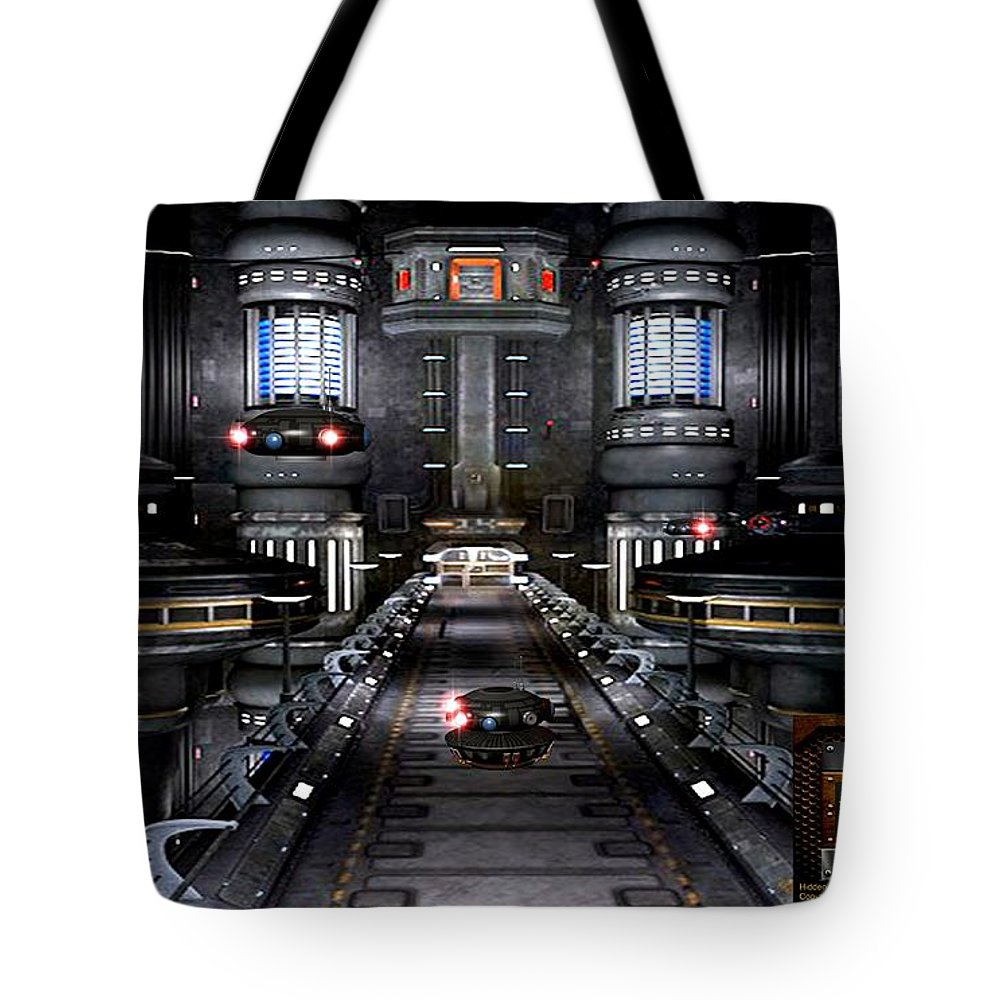 Robots Tote Bag featuring the digital art Central Dispatch by Robert Marquiss