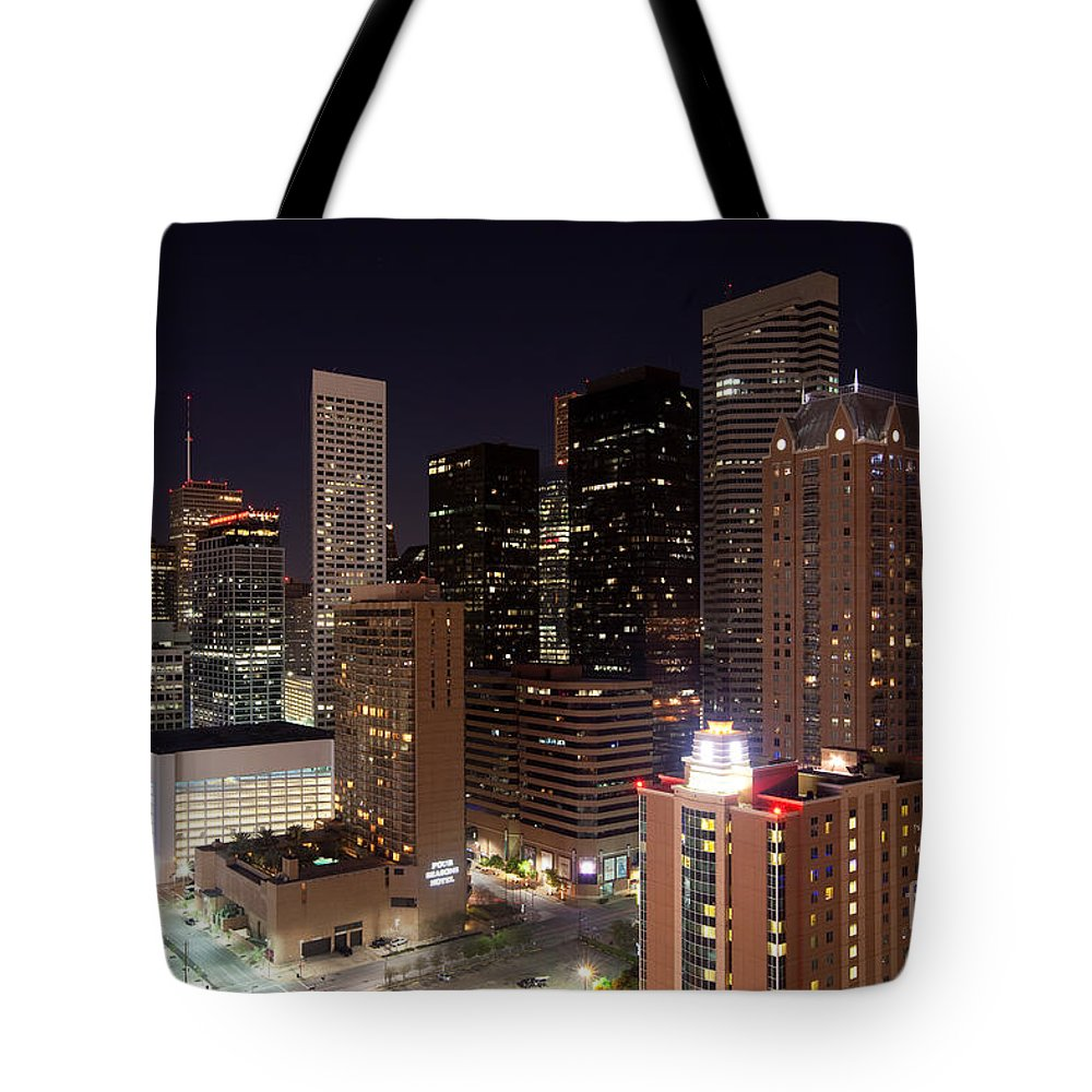 Houston Tote Bag featuring the photograph Central Houston At Night by Bill Cobb