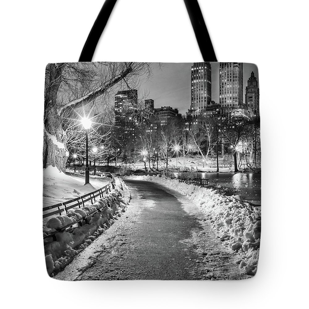 Snow Tote Bag featuring the photograph Central Park Path Night Black & White by Michael Lee