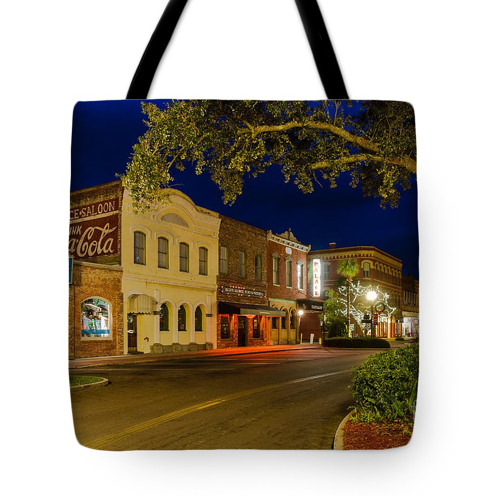Downtown Amelia Island Tote Bag featuring the photograph Centre Street Downtown Fernandina Florida by Dawna Moore Photography