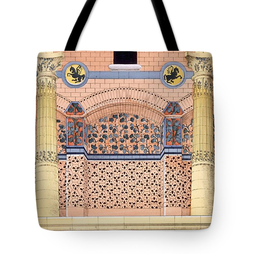 Motifs Tote Bag featuring the drawing Ceramics Designs For Tiled Wall by Rene Binet