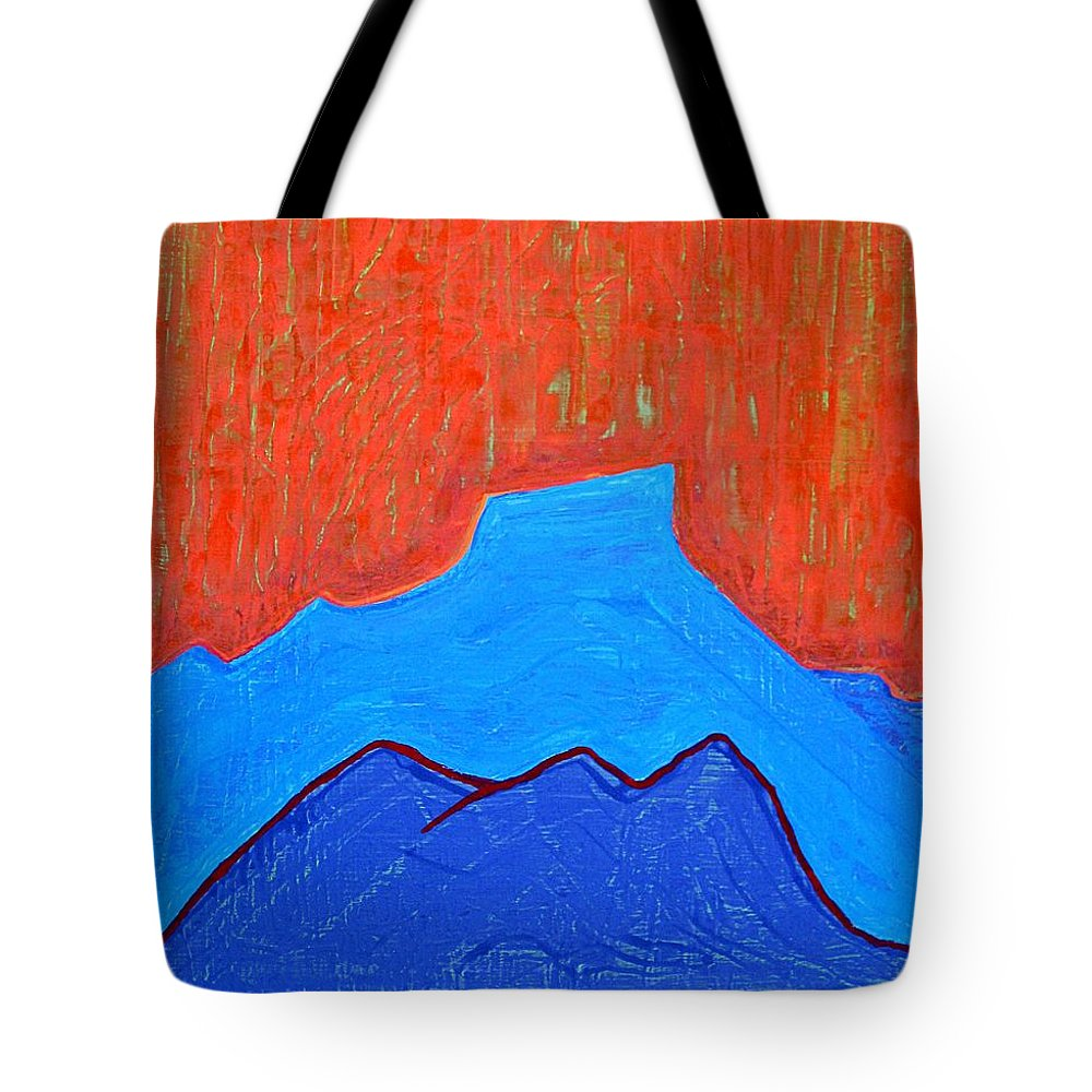 Mountain Tote Bag featuring the painting Cerro Pedernal Original Painting Sold by Sol Luckman