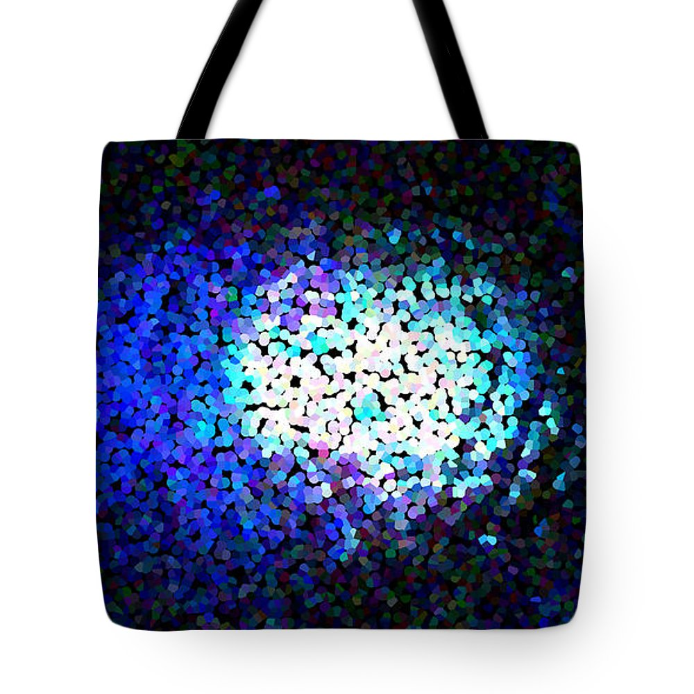 Abstract Tote Bag featuring the digital art Cerulean Pixels by James Kramer