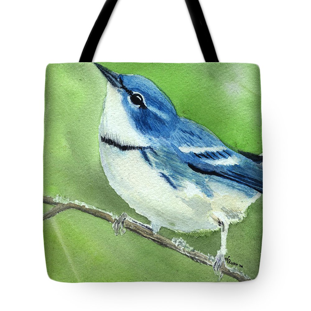 Bird Tote Bag featuring the painting Cerulean Warbler by Lynn Quinn