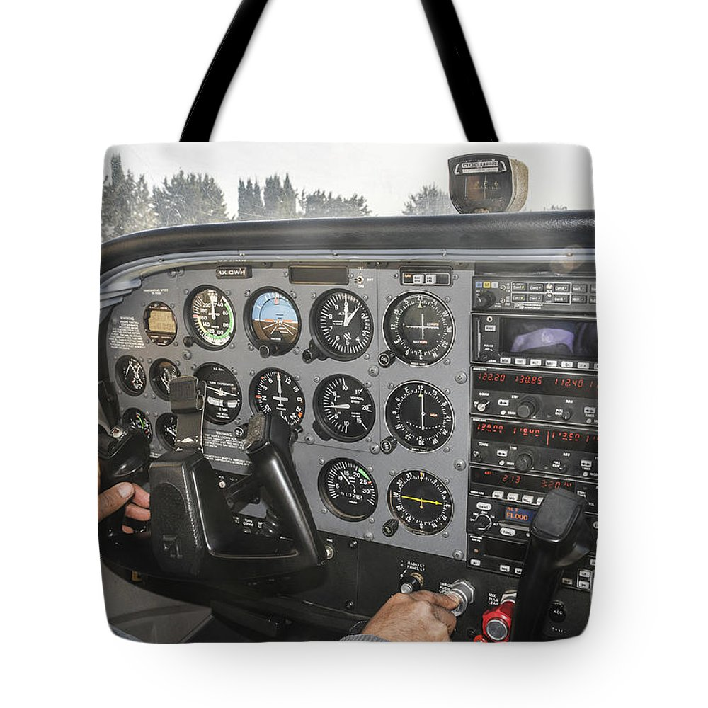 Pilot Tote Bag featuring the photograph Cessna Light Plane by Shay Levy