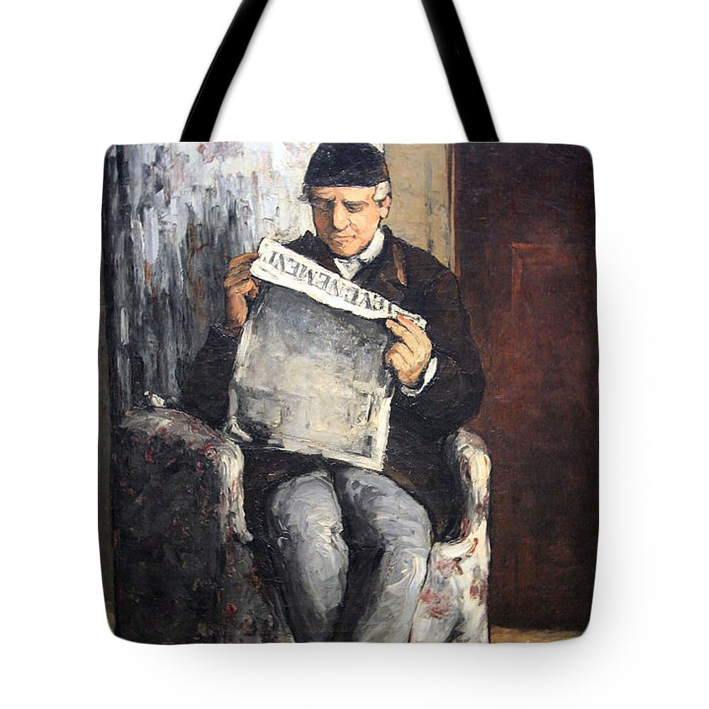 The Artist's Father Reading Le Evenement Tote Bag featuring the photograph Cezanne's The Artist's Father Reading Le Evenement by Cora Wandel