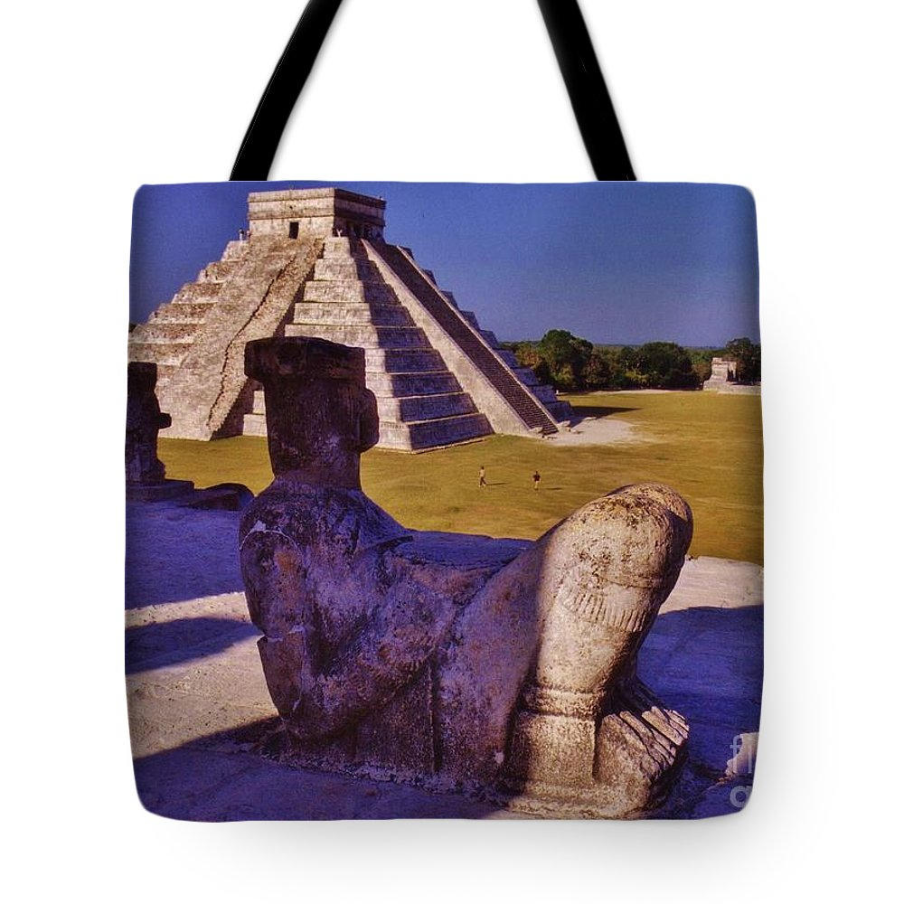 Statue Tote Bag featuring the photograph Chac Mool And Kukulkan by John Malone