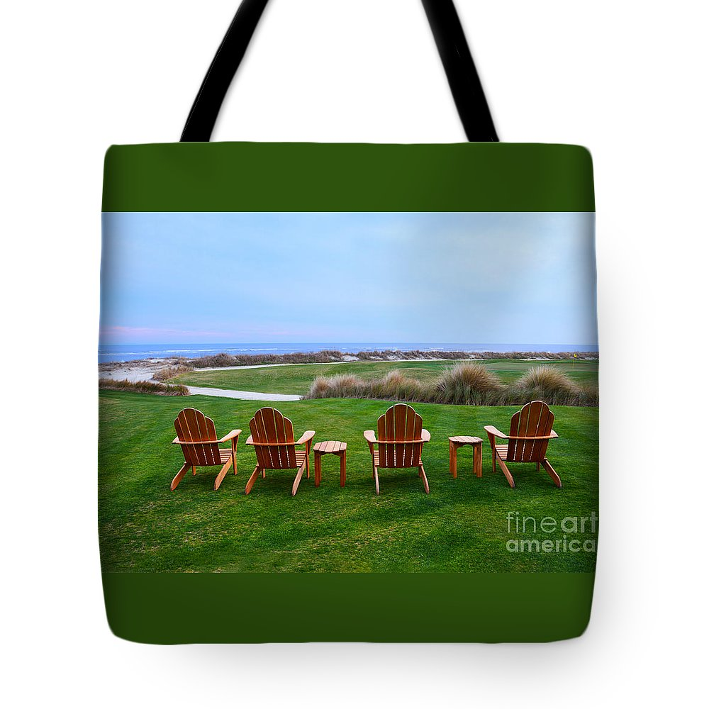 Golf Course Tote Bag featuring the photograph Chairs At The Eighteenth Hole by Catherine Sherman