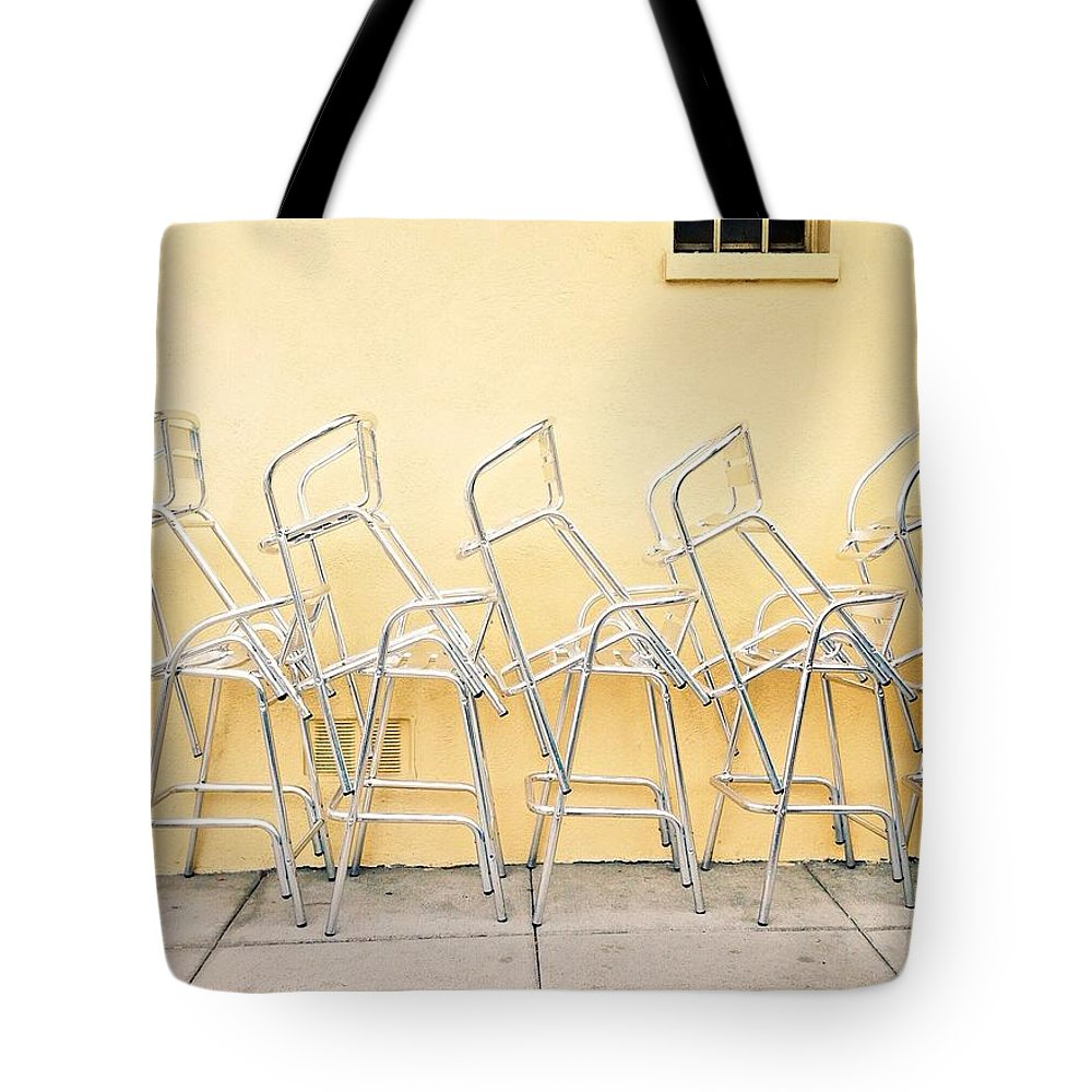 Chairs Tote Bag featuring the photograph Chairs Stacked by Julie Gebhardt