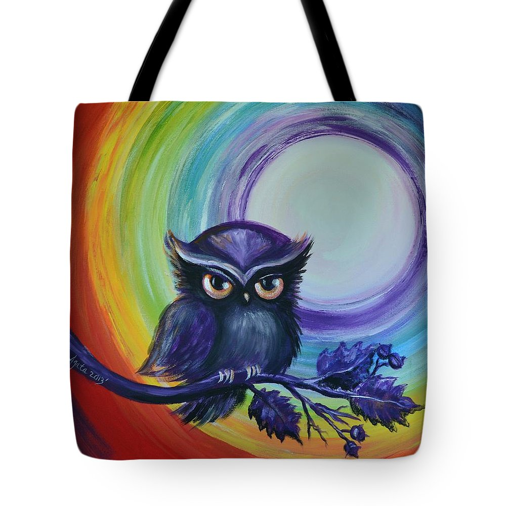 Owl Tote Bag featuring the painting Chakra Meditation With Owl by Agata Lindquist