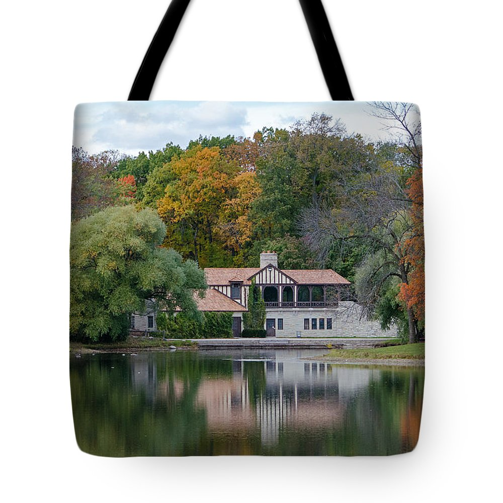 Chalet Tote Bag featuring the photograph Chalet On The Lagoon by Susan McMenamin