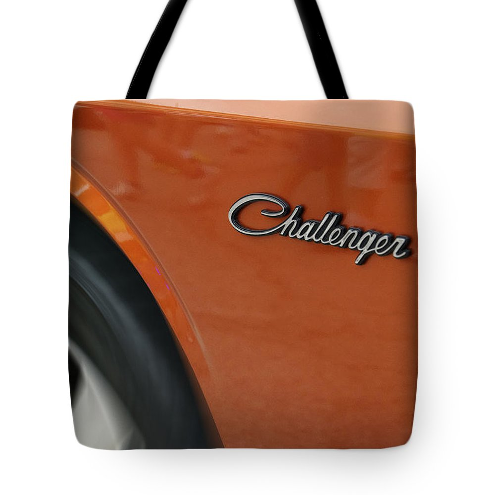 Transportation Tote Bag featuring the photograph Challenger Emblem by Thomas Woolworth