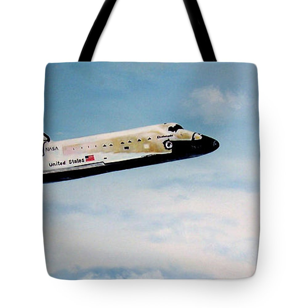 Shuttle Tote Bag featuring the painting Challenger by Murphy Elliott