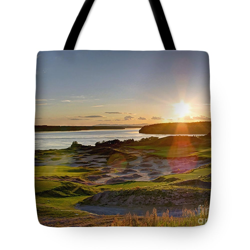 Chambers Creek Tote Bag featuring the photograph Chambers Bay Sun Flare - 2015 U.s. Open by Chris Anderson