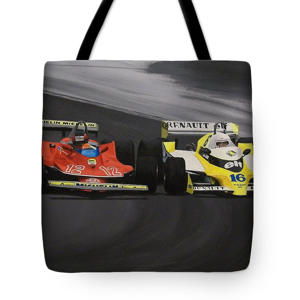 Car Tote Bag featuring the painting Champagne Showdown by Kieran Roberts