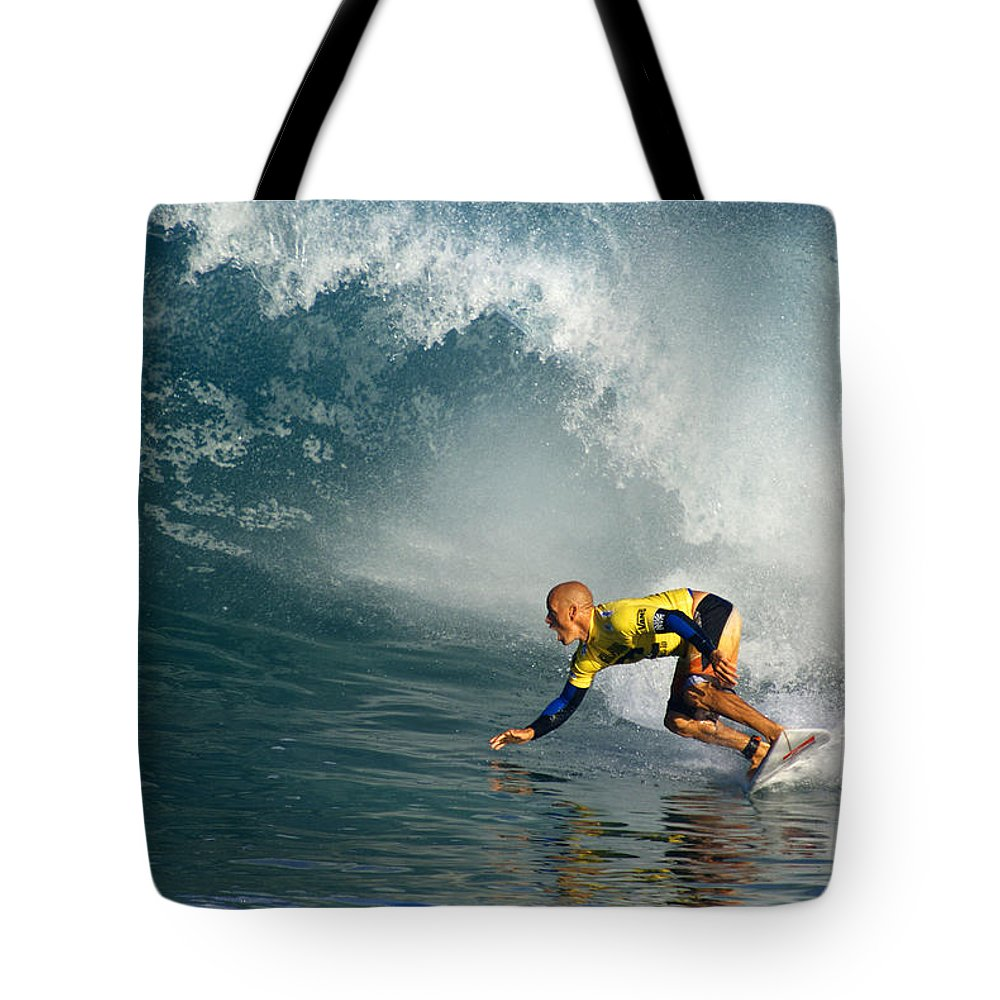 Kelly Slater Tote Bag featuring the photograph Champion At Pipeline Masters by Kevin Smith