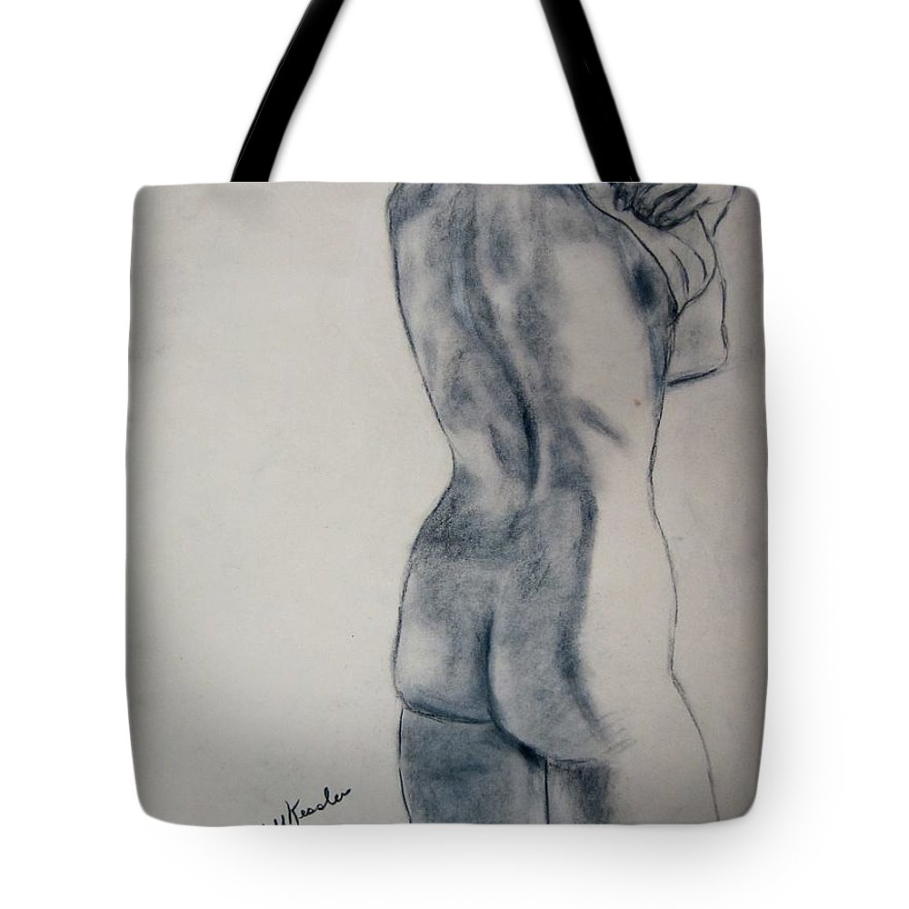 Nude Tote Bag featuring the drawing Changing by Kendall Kessler