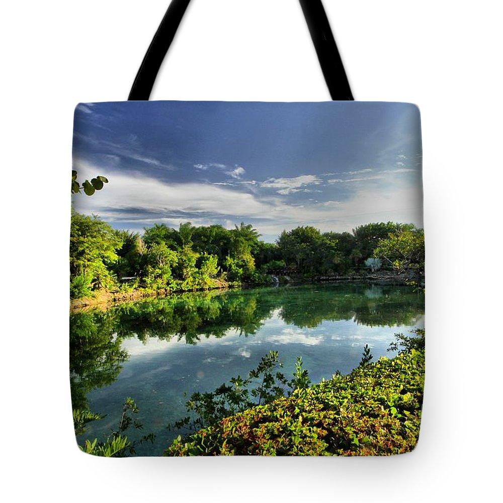 Chankanaab Tote Bag featuring the photograph Chankanaab Lagoon Reflections by Adam Jewell