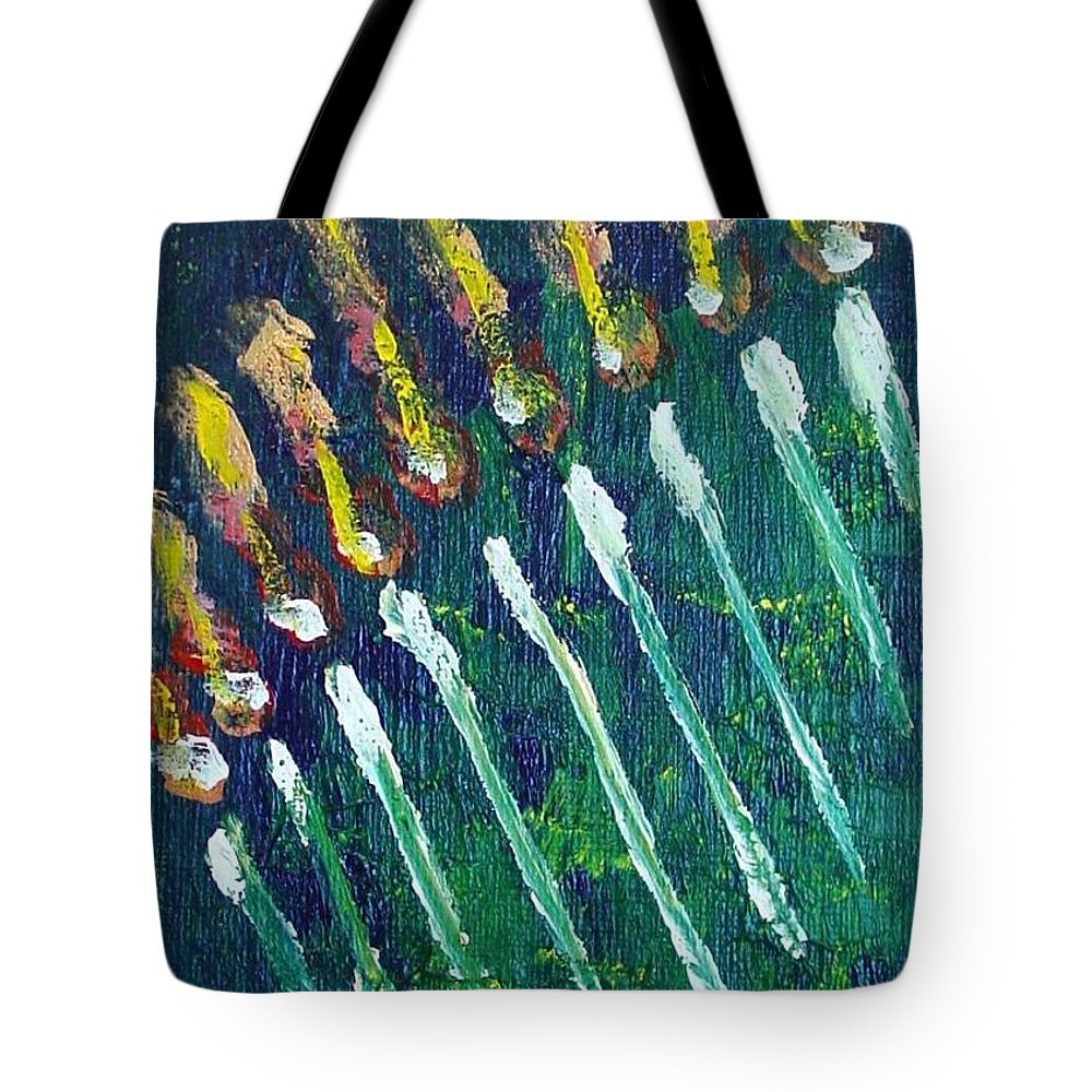 Chanukah Tote Bag featuring the painting Chanukiah In The Dark by Laurie Morgan