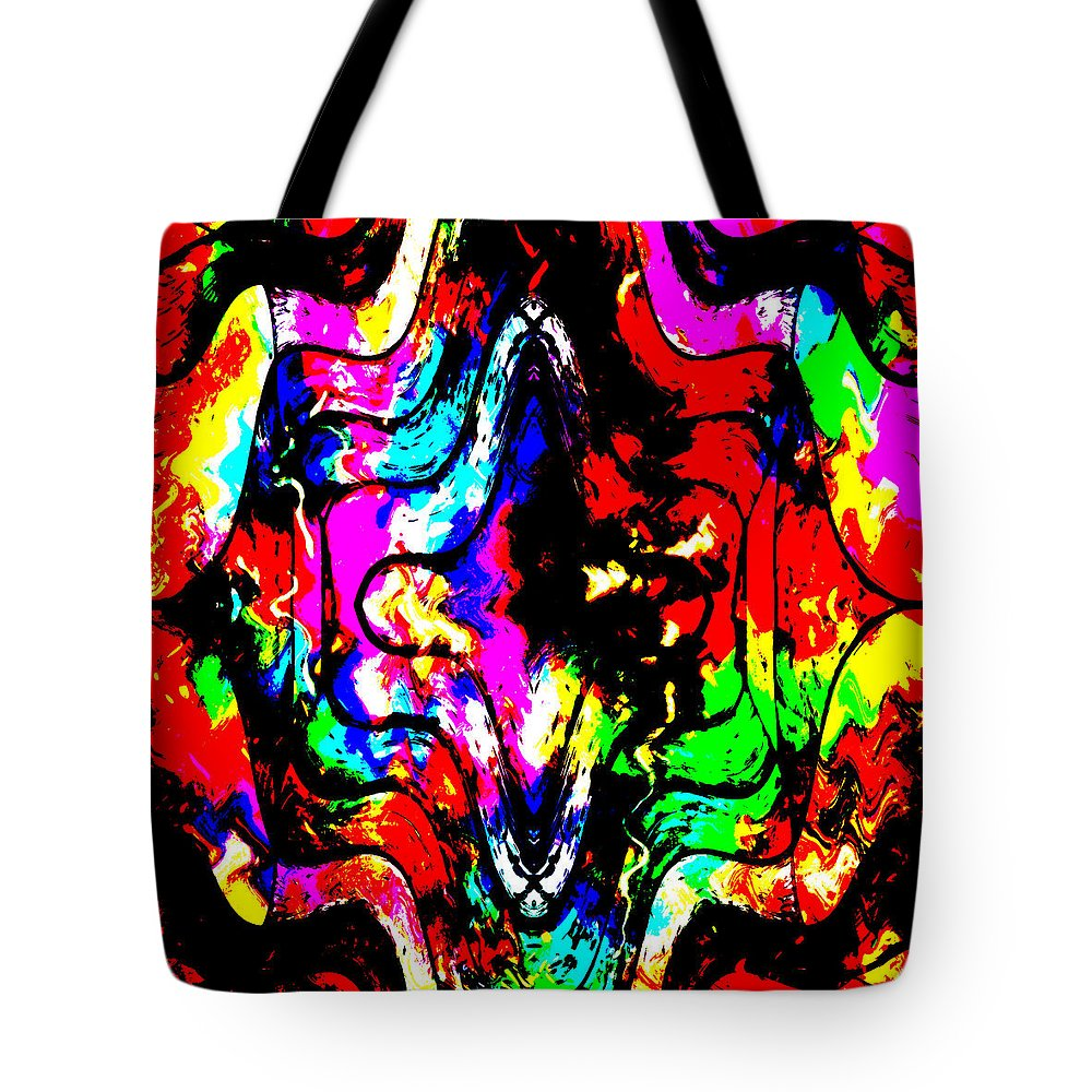 Chaos Abstract Color Colorful Mind Expressionism Comic Art Pop Digital Impressionism Tote Bag featuring the painting Chaos In My Mind by Steve K