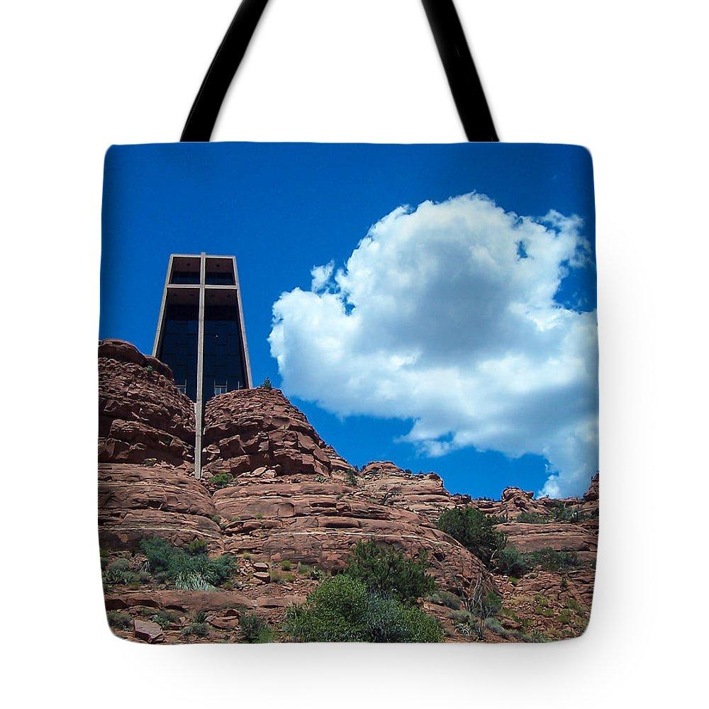 Arizona Tote Bag featuring the photograph Chapel Of The Holy Cross In Sedona by James Gordon Patterson