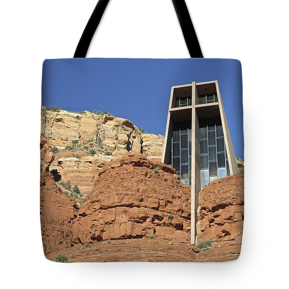 Chapel Of The Holy Cross Tote Bag featuring the photograph Chapel Of The Holy Cross by Penny Meyers