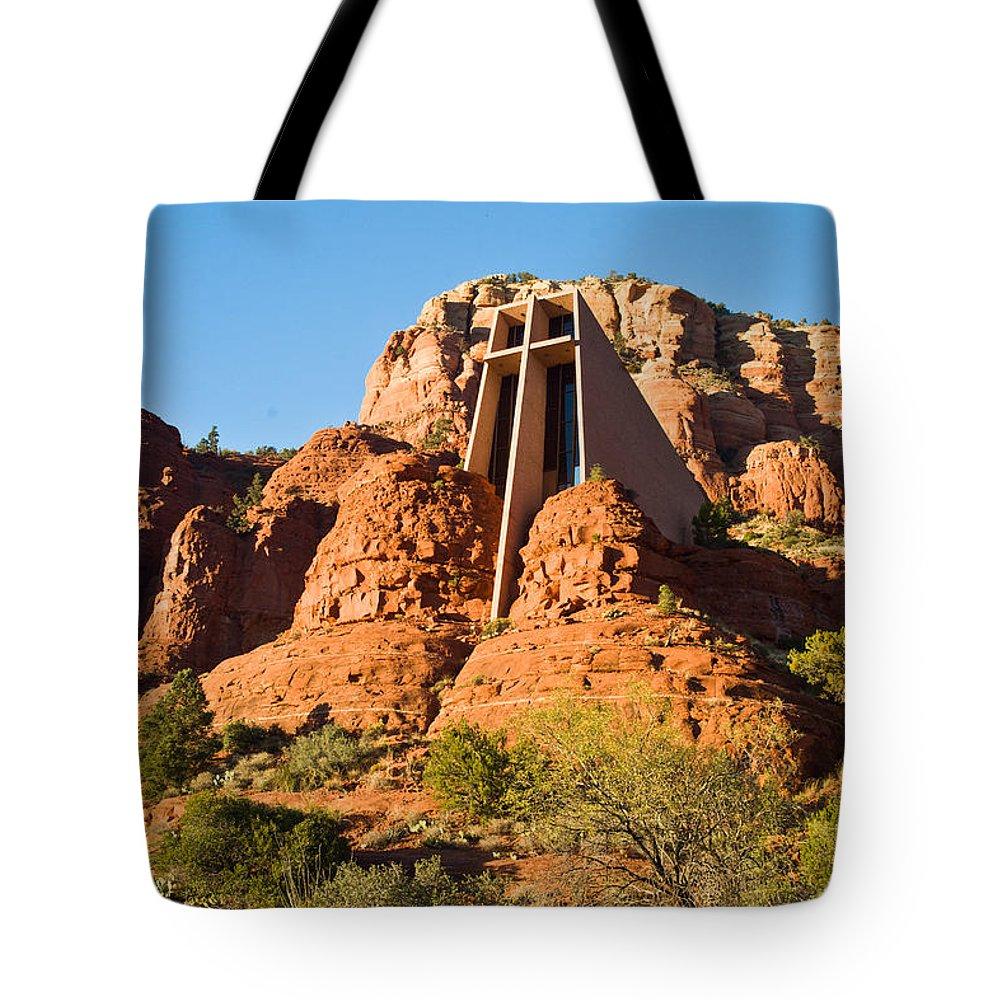 Sedona Tote Bag featuring the photograph Chapel Of The Holy Cross Sedona Arizona 100 by Douglas Barnett