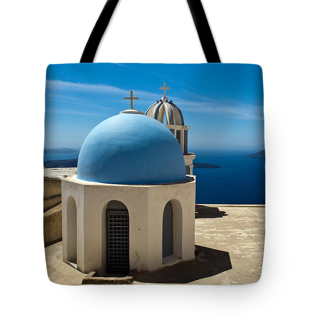 Greek Island Tote Bag featuring the photograph Chapel On Santorini by Gary Eason