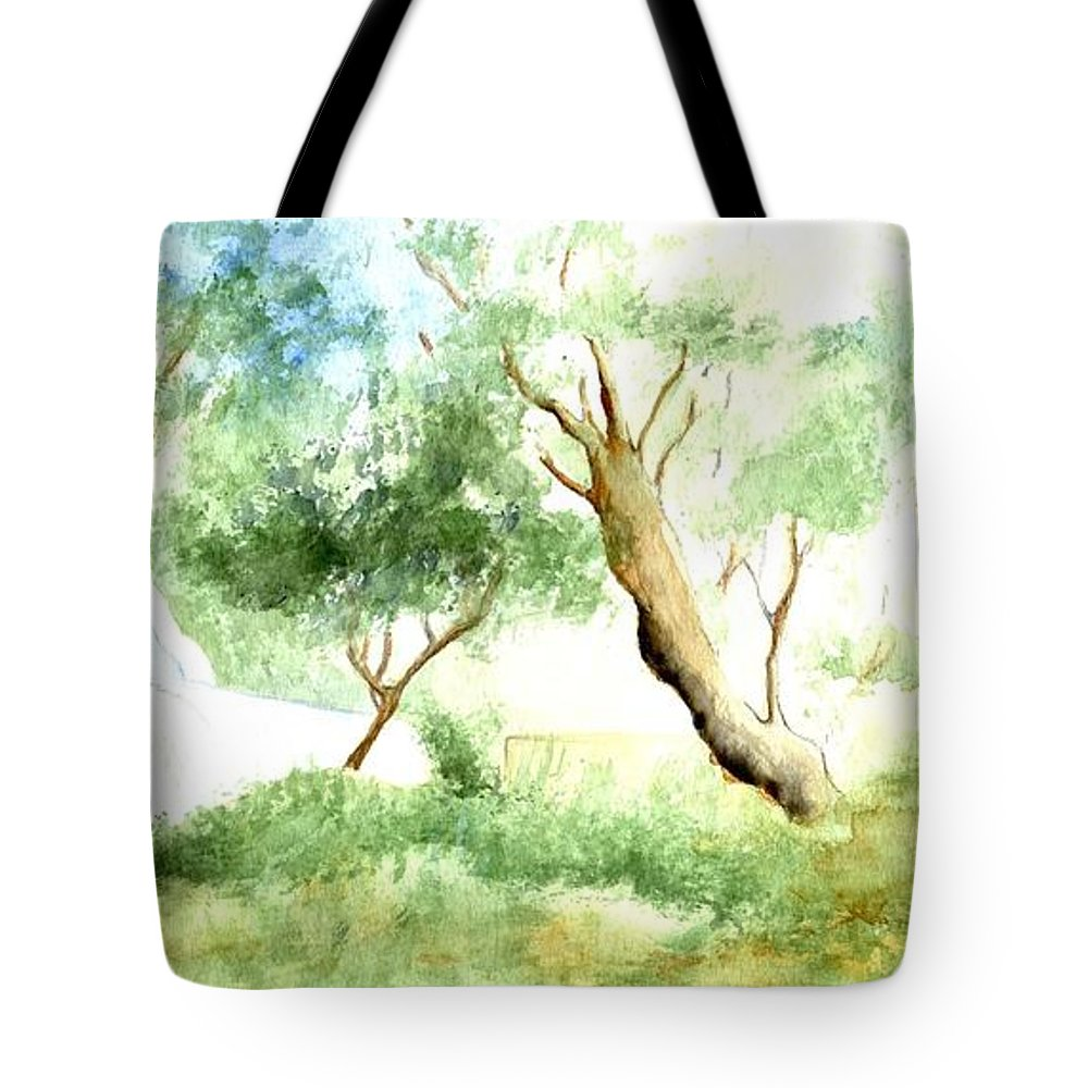 Nature Tote Bag featuring the painting Chapel On The Beach by Karina Plachetka
