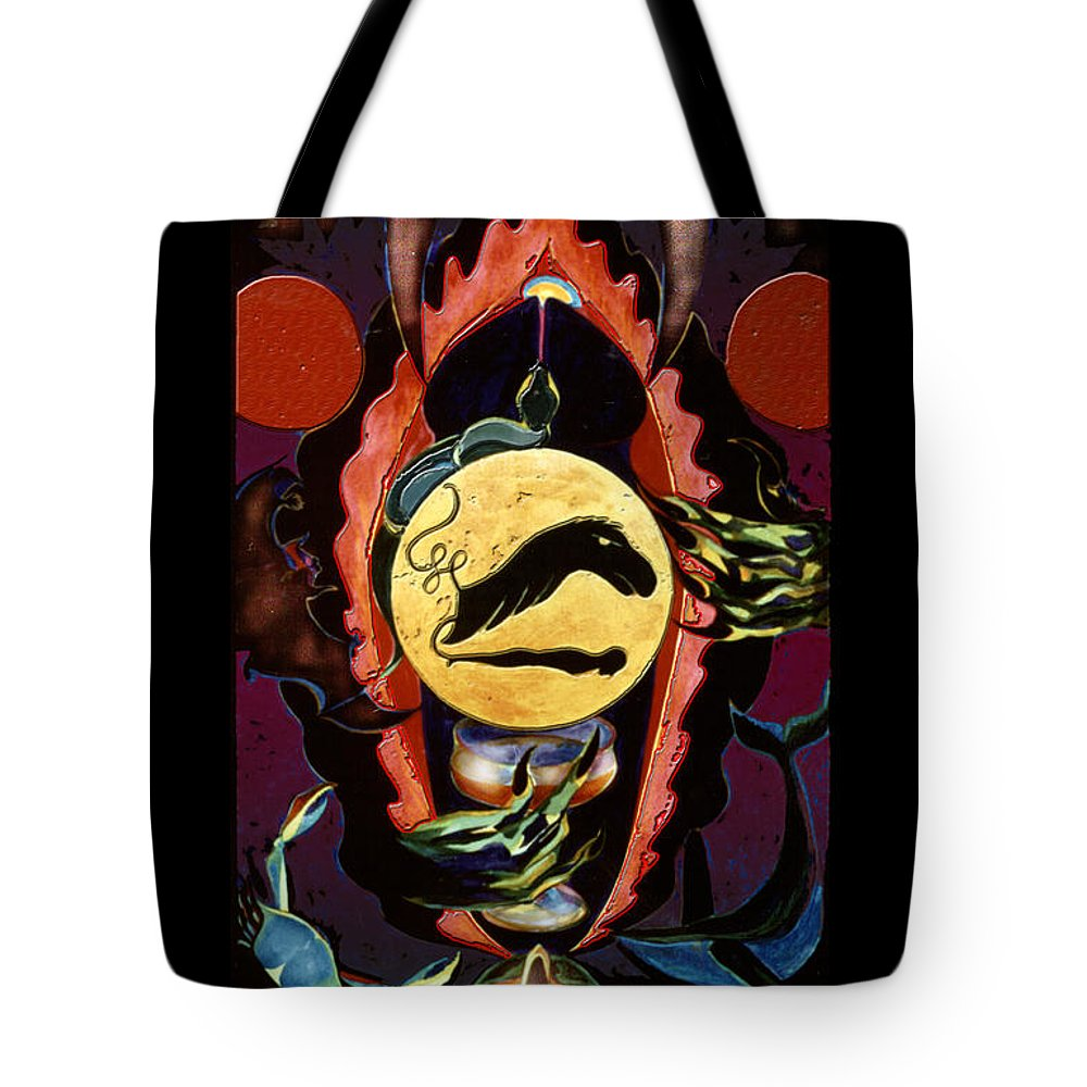Shadow Tarot Tote Bag featuring the mixed media Characith - The Chariot by Linda Falorio