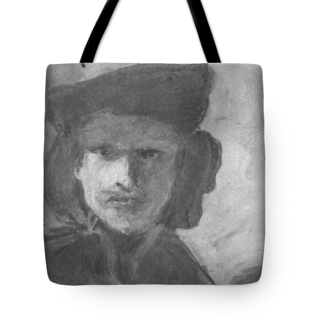 Rembrandt - Self-portrait With Velvet Beret Tote Bag featuring the drawing Charcoal Study Of Rembrandt Self-portrait With Velvet Beret by Anna Ruzsan
