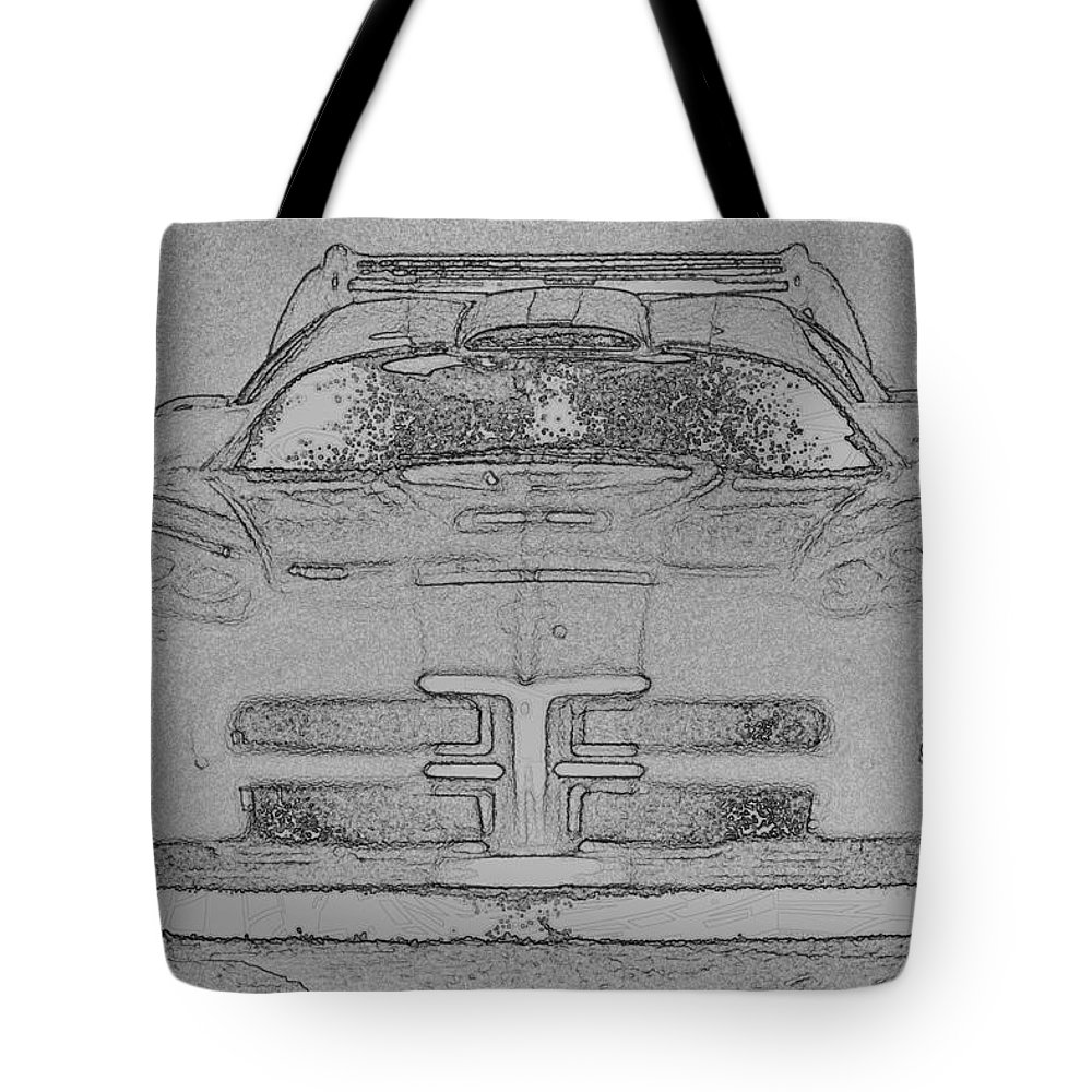 Dodge Tote Bag featuring the digital art Charcoal Viper by Lin Grosvenor