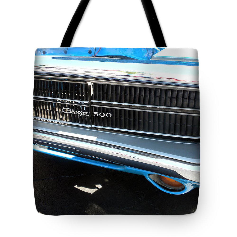 Chrysler Tote Bag featuring the photograph Charger 500 Front Grill And Emblem by Thomas Woolworth