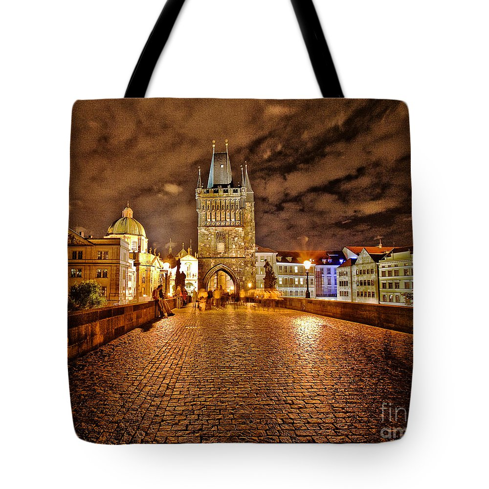 Charles Bridge Tote Bag featuring the photograph Charles Bridge At Night by Madeline Ellis