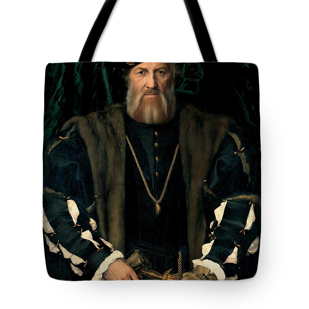 Hans Holbein The Younger Tote Bag featuring the painting Charles De Solier by Celestial Images